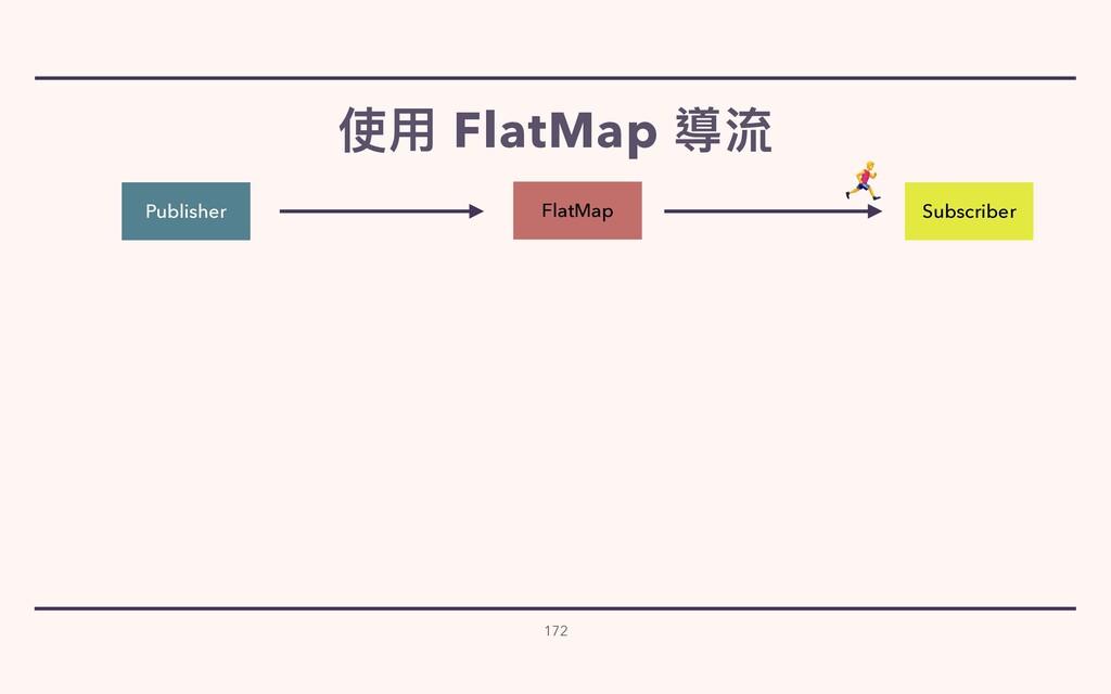 使⽤ FlatMap 導流 172 Publisher Subscriber FlatMap