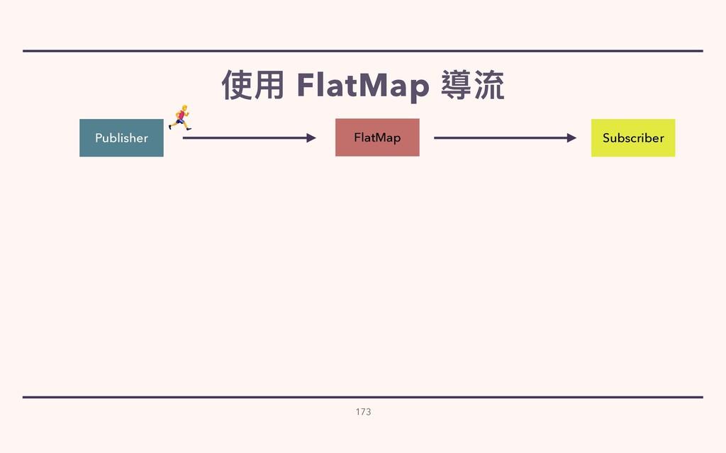 使⽤ FlatMap 導流 173 Publisher Subscriber FlatMap