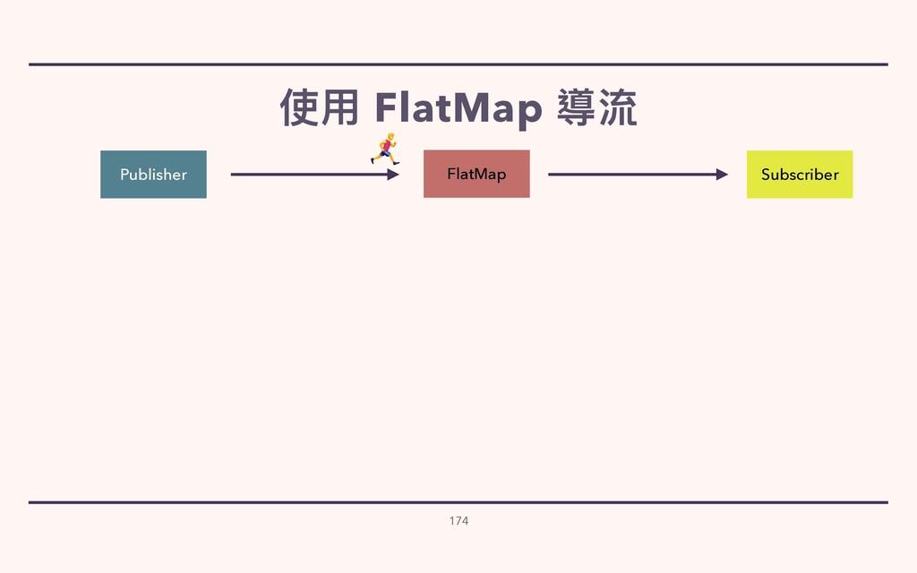 使⽤ FlatMap 導流 174 Publisher Subscriber FlatMap