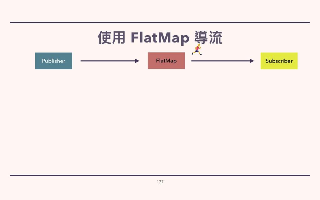 使⽤ FlatMap 導流 177 Publisher Subscriber FlatMap