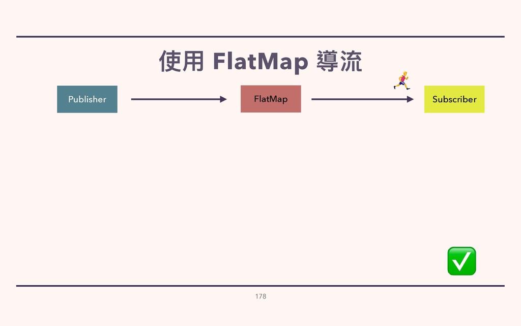 使⽤ FlatMap 導流 178 Publisher Subscriber FlatMap ...
