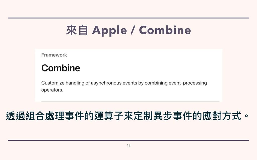來⾃ Apple / Combine 19 透過組合處理事件的運算⼦來定制異步事件的應對⽅式。