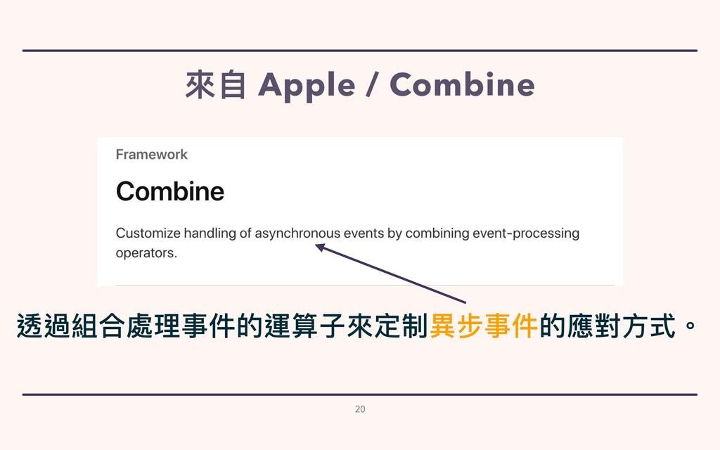 來⾃ Apple / Combine 20 透過組合處理事件的運算⼦來定制異步事件的應對⽅式。