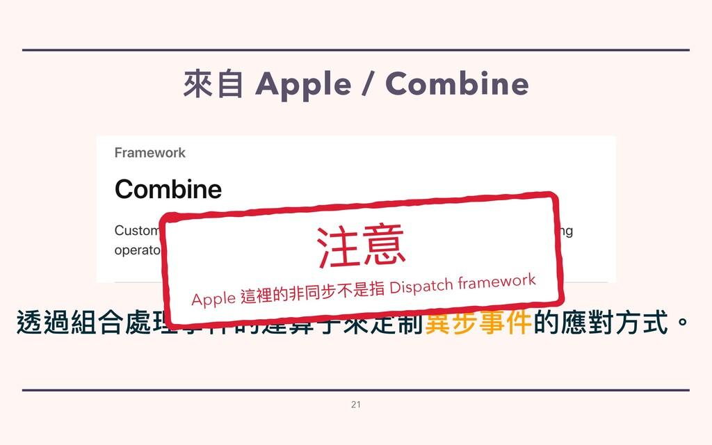 來⾃ Apple / Combine 21 透過組合處理事件的運算⼦來定制異步事件的應對⽅式。...