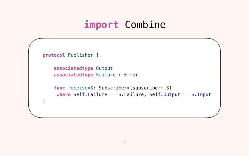 38 import Combine protocol Publisher {   associ...