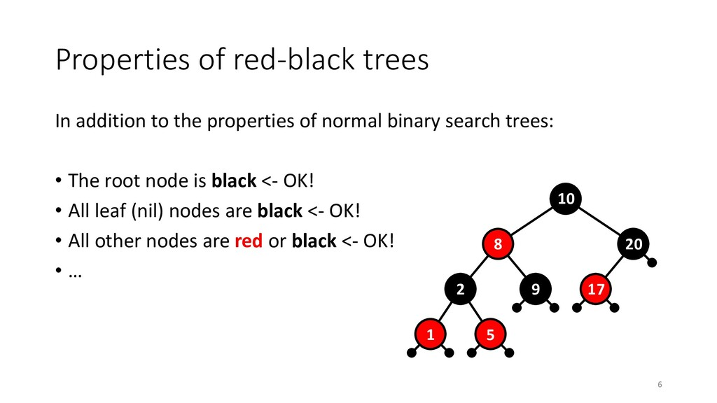 Properties of red-black trees In addition to th...