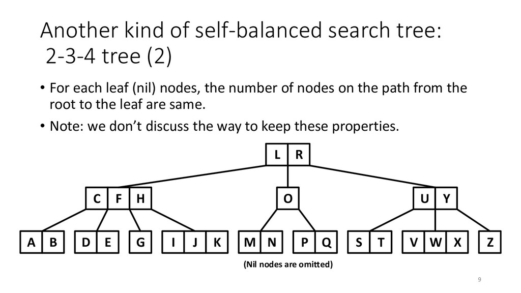 Another kind of self-balanced search tree: 2-3-...