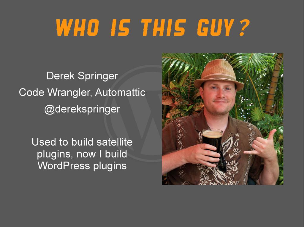 Who is this guy? Derek Springer Code Wrangler, ...