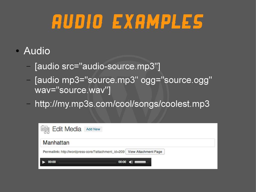 """Audio Examples ● Audio – [audio src=""""audio-sour..."""