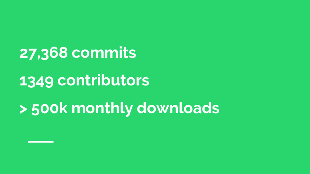 27,368 commits 1349 contributors > 500k monthly...