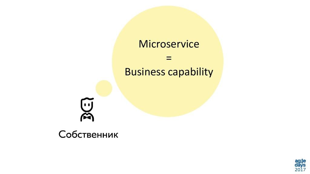 Microservice = Business capability
