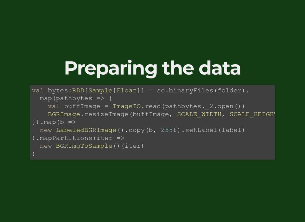 Preparing the data val bytes:RDD[Sample[Float]]...