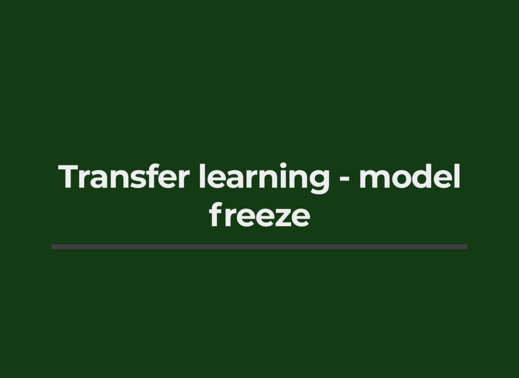 Transfer learning - model freeze