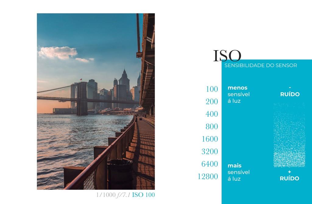 1/1000 f/7.1 ISO 100 menos sensível á luz mais ...