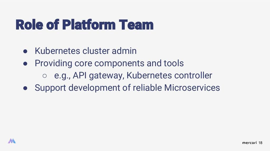 18 Role of Platform Team ● Kubernetes cluster a...