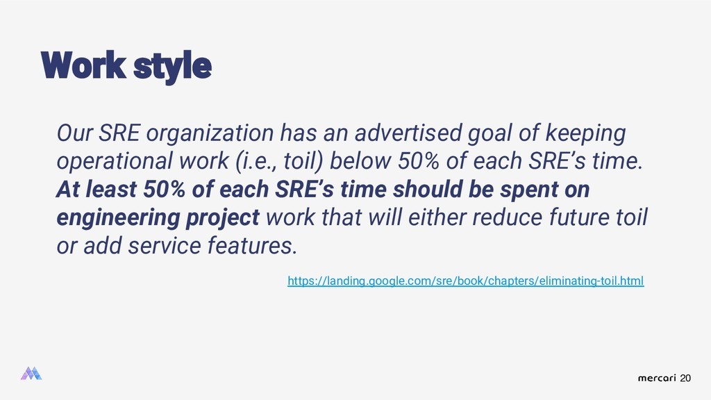 20 Work style Our SRE organization has an adver...