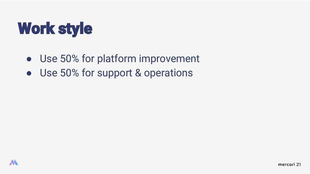 21 Work style ● Use 50% for platform improvemen...