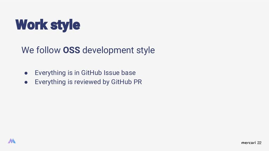 22 Work style We follow OSS development style ●...