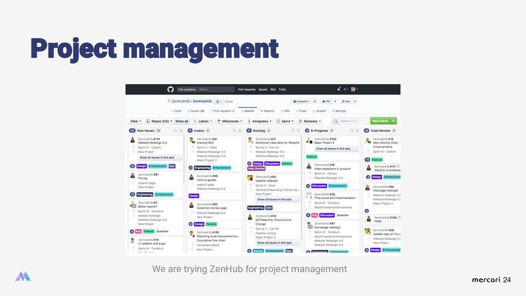 24 Project management We are trying ZenHub for ...