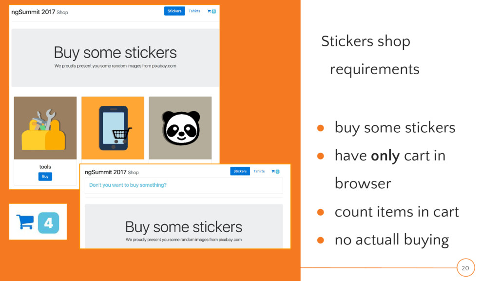Stickers shop requirements ● buy some stickers ...
