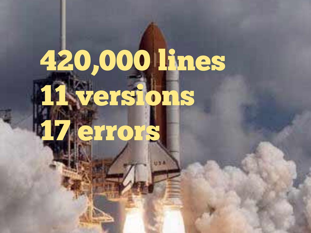 420,000 lines 11 versions 17 errors