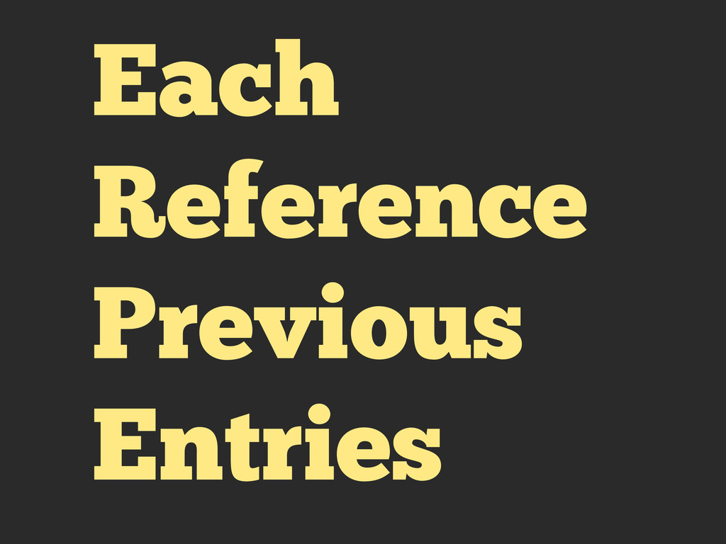 Each Reference Previous Entries