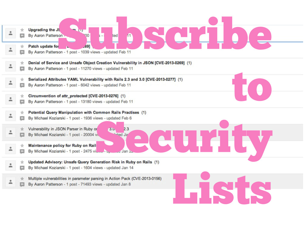 Subscribe to Security Lists