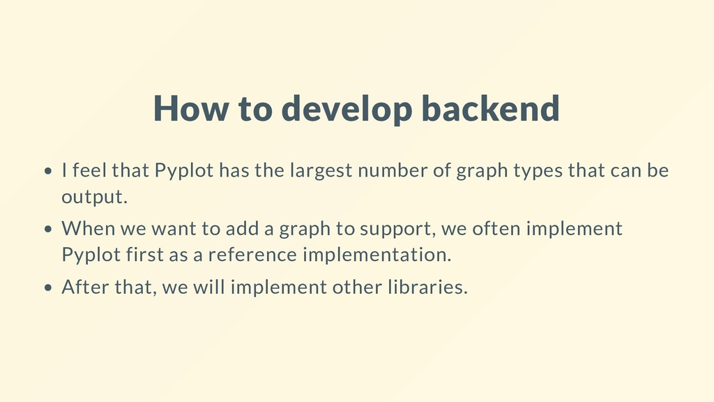 How to develop backend I feel that Pyplot has t...