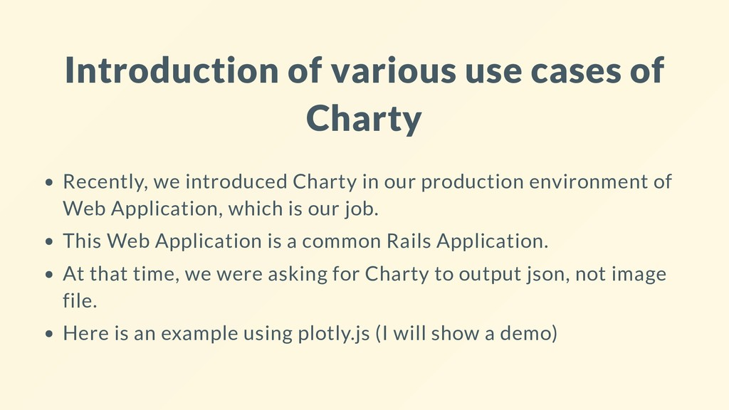 Introduction of various use cases of Charty Rec...