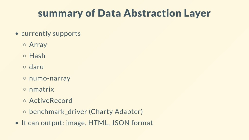 summary of Data Abstraction Layer currently sup...