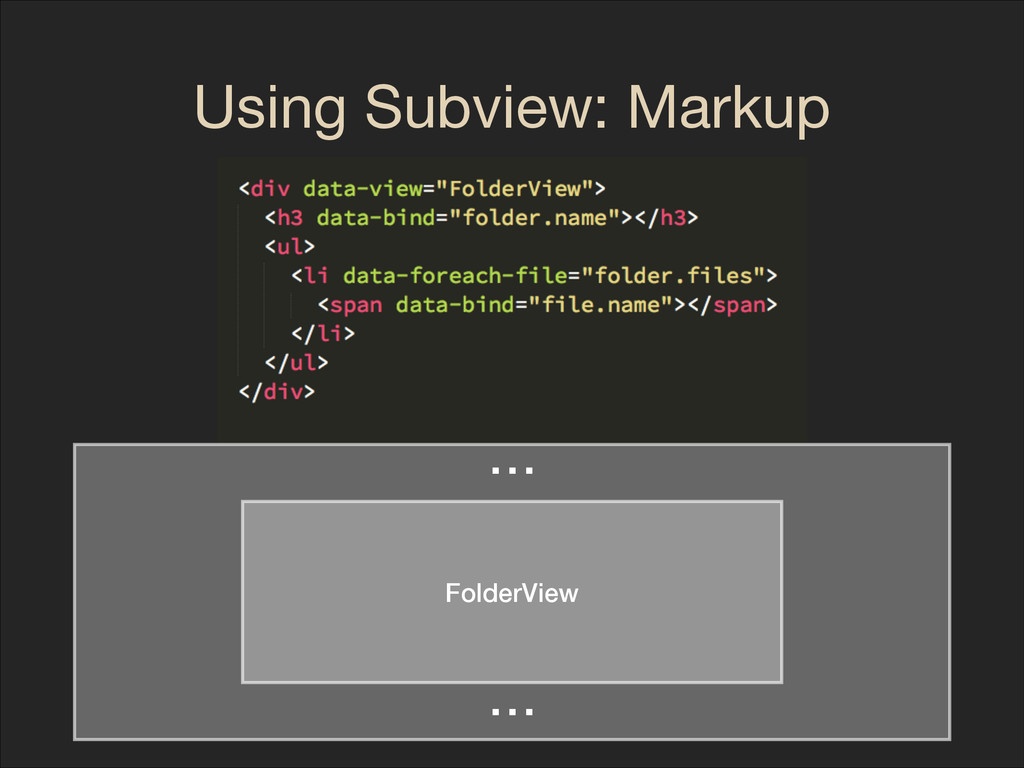 Using Subview: Markup FolderView ⋯ ⋯