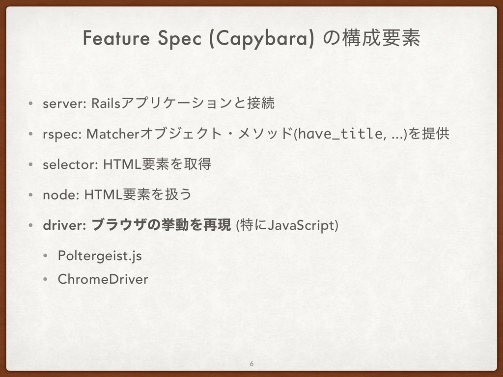 Feature Spec (Capybara) ͷߏ੒ཁૉ • server: RailsΞϓ...