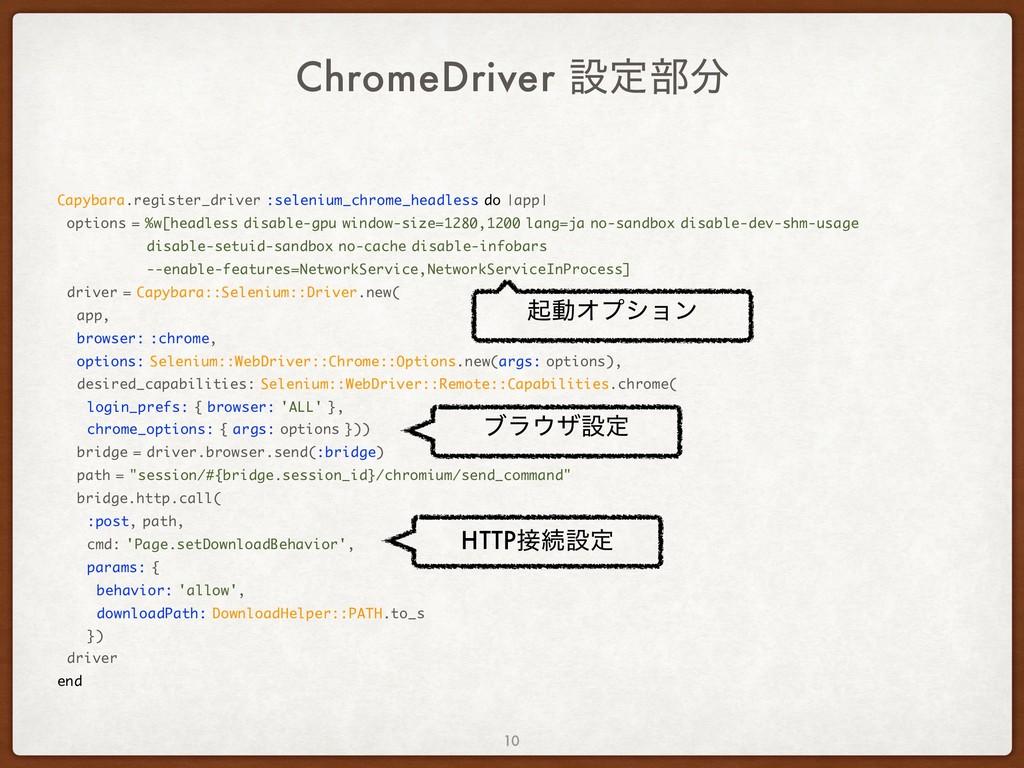 ChromeDriver ઃఆ෦ Capybara.register_driver :sel...