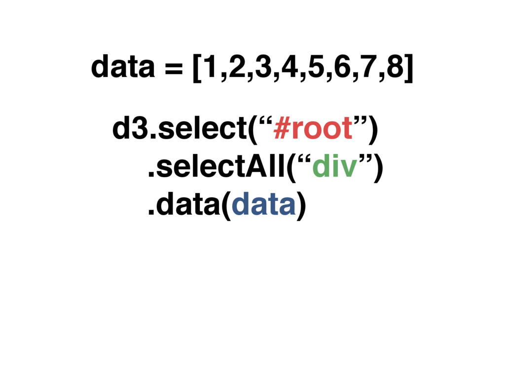 "data = [1,2,3,4,5,6,7,8] d3.select(""#root"") .se..."