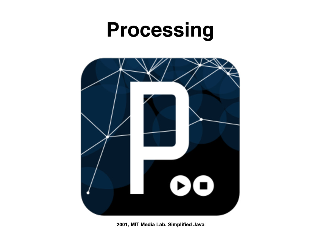 Processing 2001, MIT Media Lab. Simplified Java