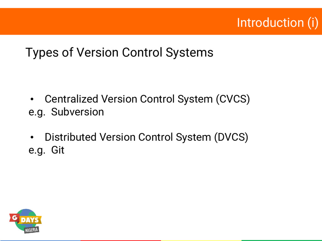 Introduction (i) Types of Version Control Syste...
