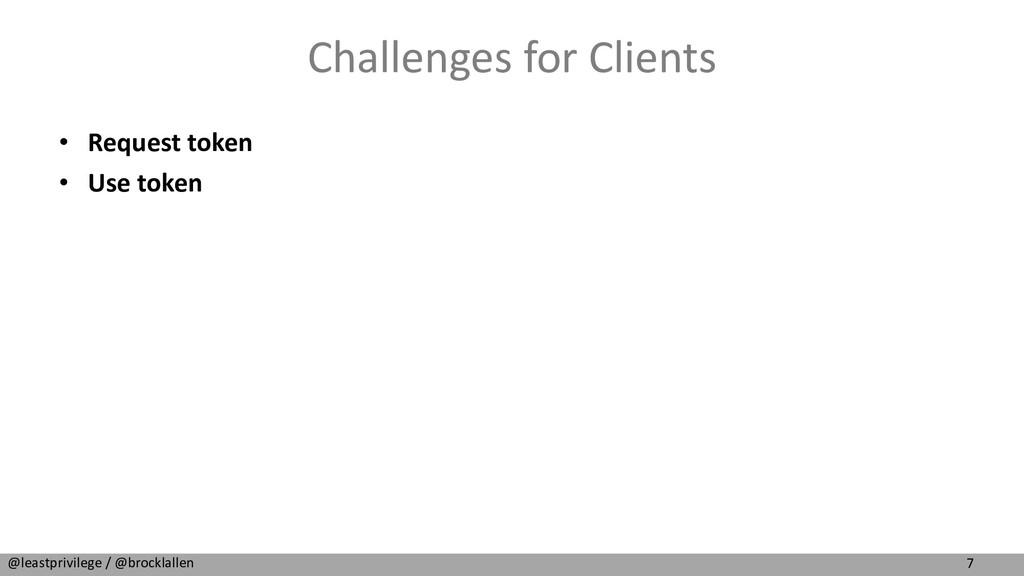7 @leastprivilege / @brocklallen Challenges for...