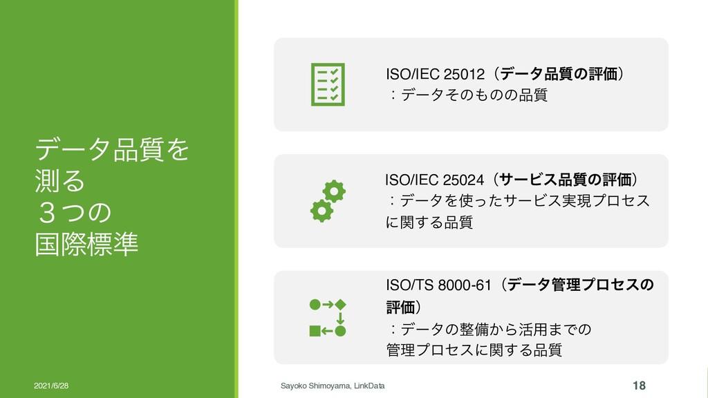 σʔλ࣭Λ ଌΔ ̏ͭͷ ࠃࡍඪ४ 2021/6/28 Sayoko Shimoyama, ...