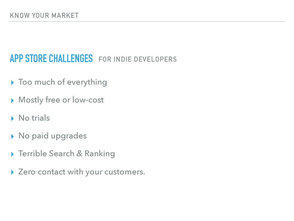 KNOW YOUR MARKET APP STORE CHALLENGES ▸ Too muc...