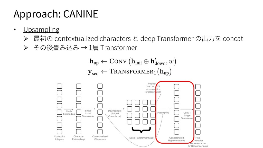 Approach: CANINE • Upsampling Ø 最初の contextuali...