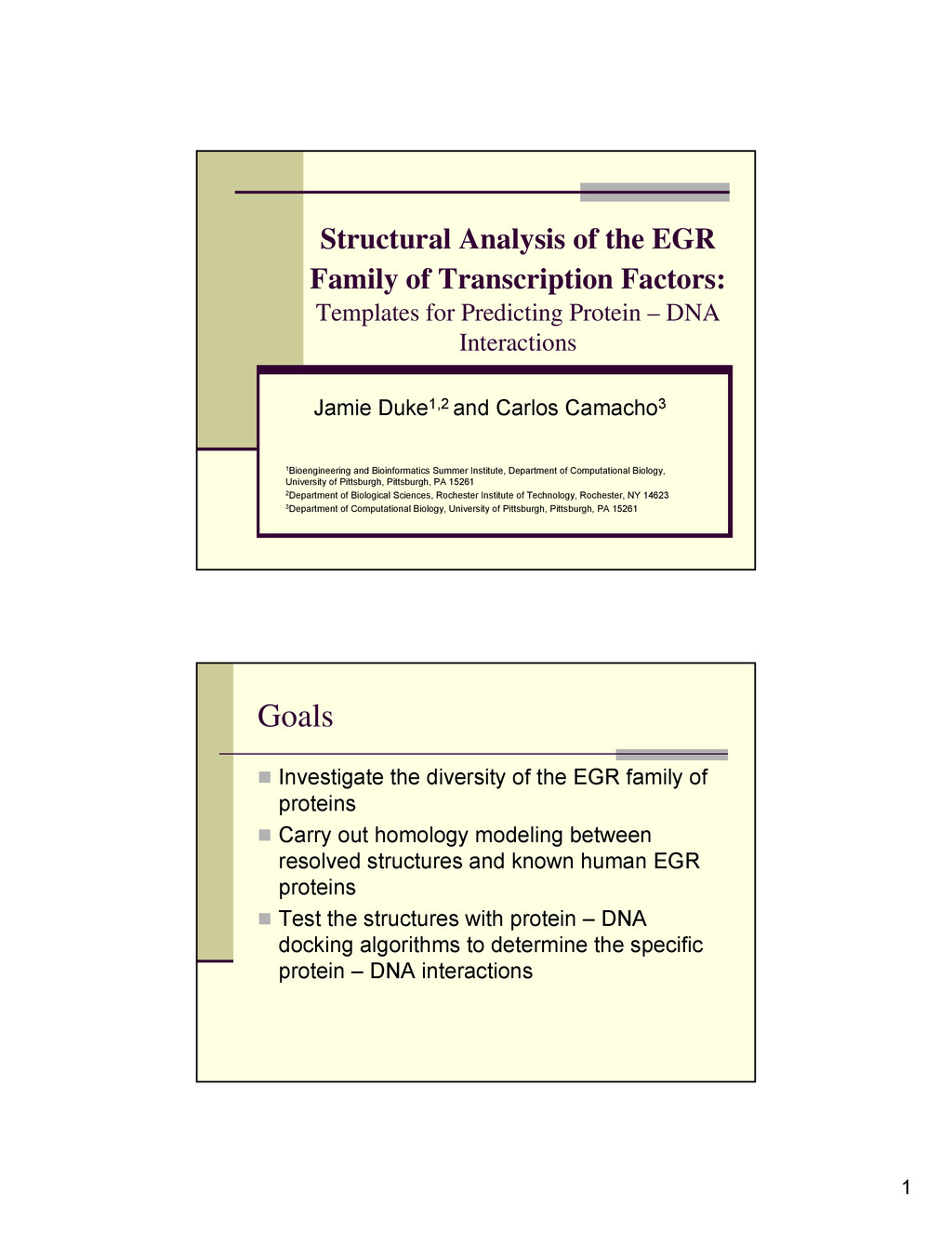 1 Structural Analysis of the EGR Family of Tran...