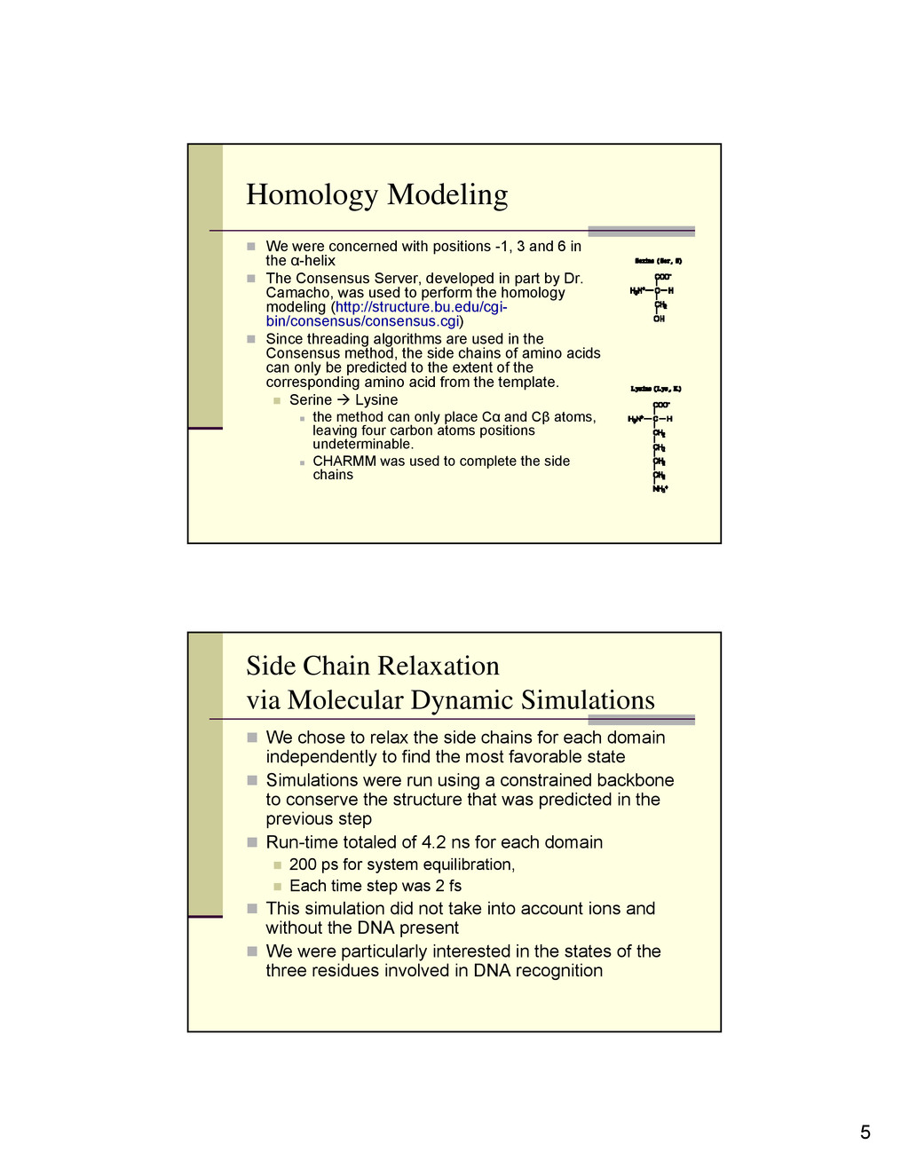 "5 Homology Modeling "" We were concerned with po..."