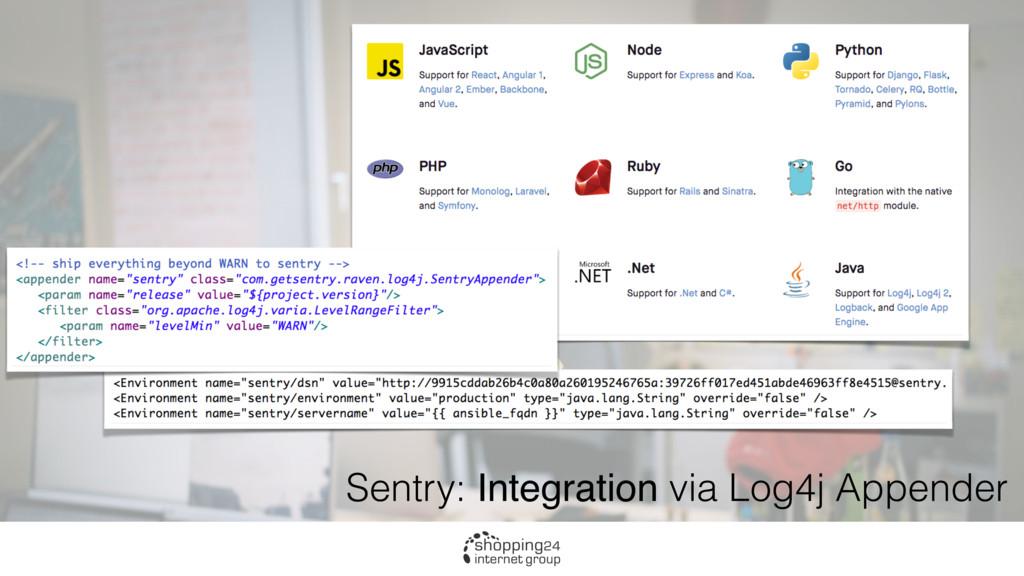 Sentry: Integration via Log4j Appender