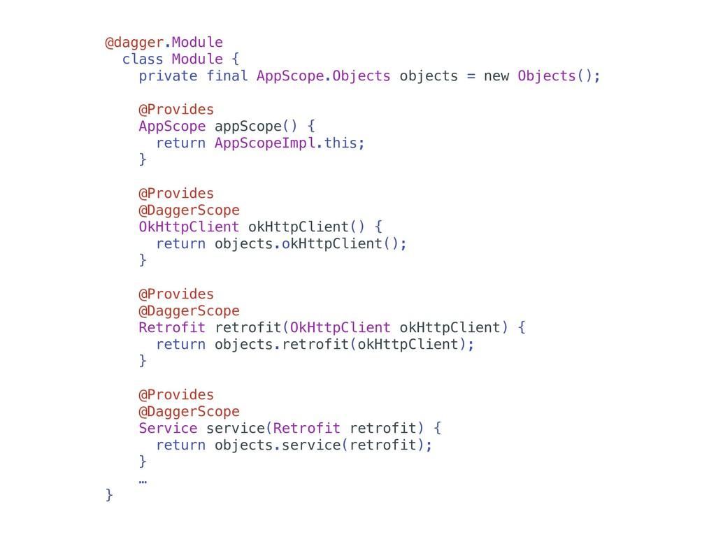 @dagger.Module class Module { private final App...