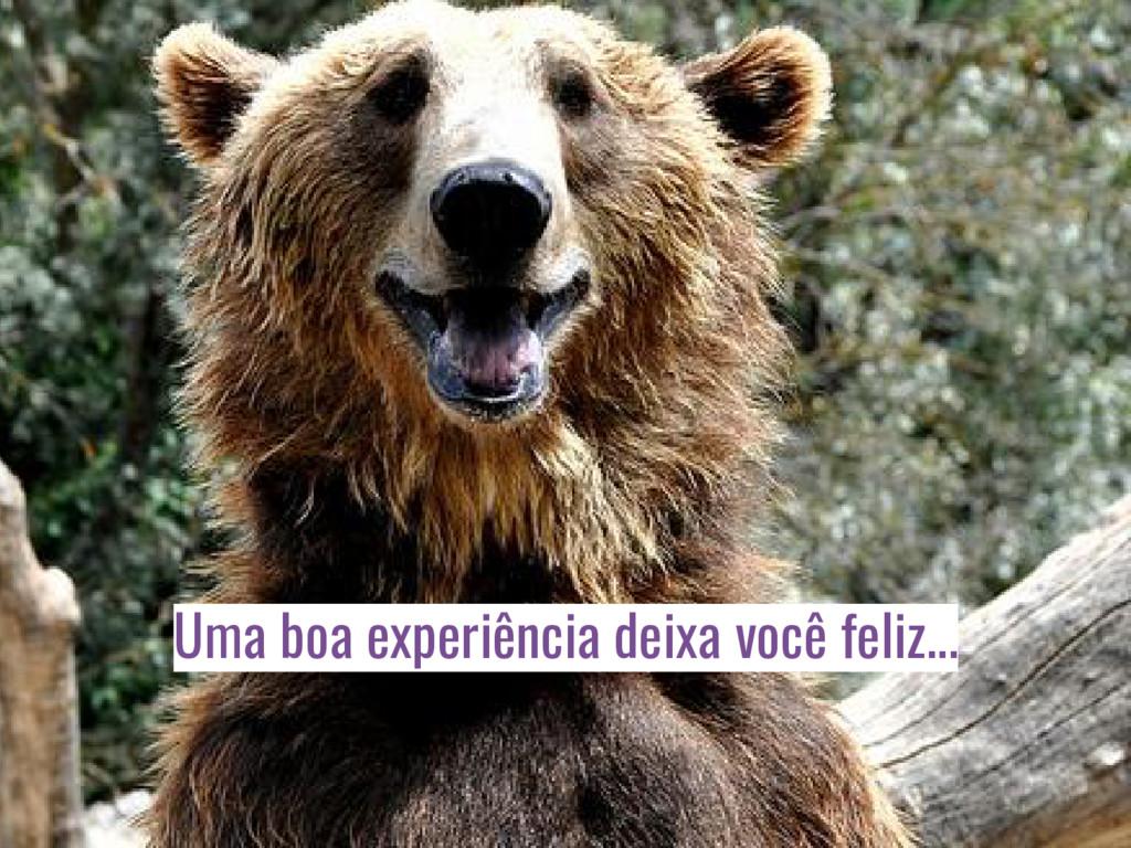 Uma boa experiência deixa você feliz...