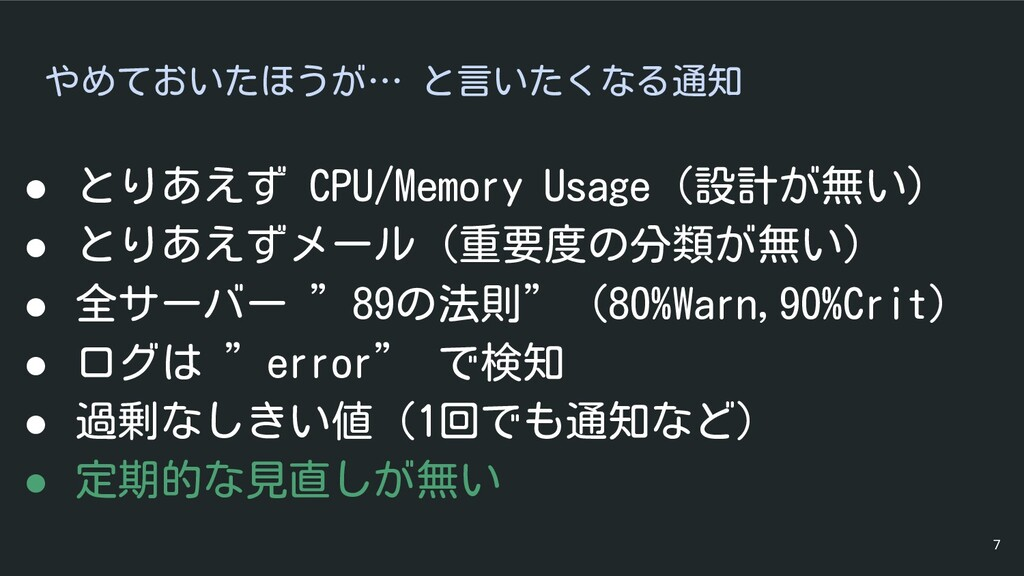 やめておいたほうが… と言いたくなる通知 ● とりあえず CPU/Memory Usage (...