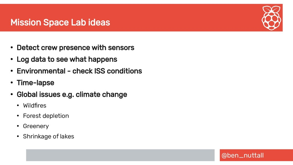 @ben_nuttall Mission Space Lab ideas ● Detect c...