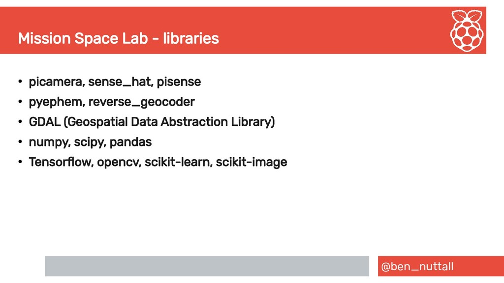 @ben_nuttall Mission Space Lab - libraries ● pi...