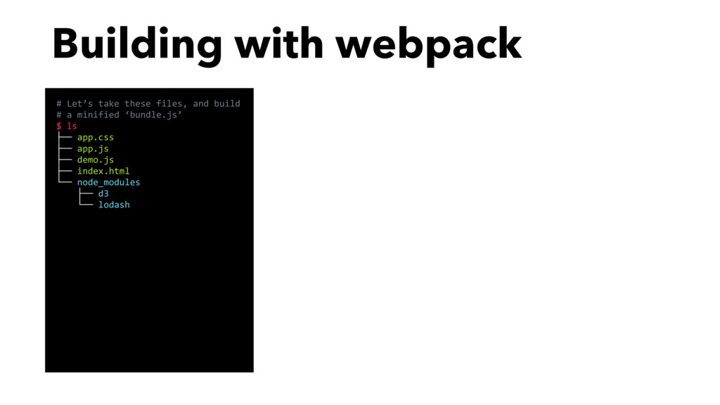 Building with webpack # Let's take these files,...