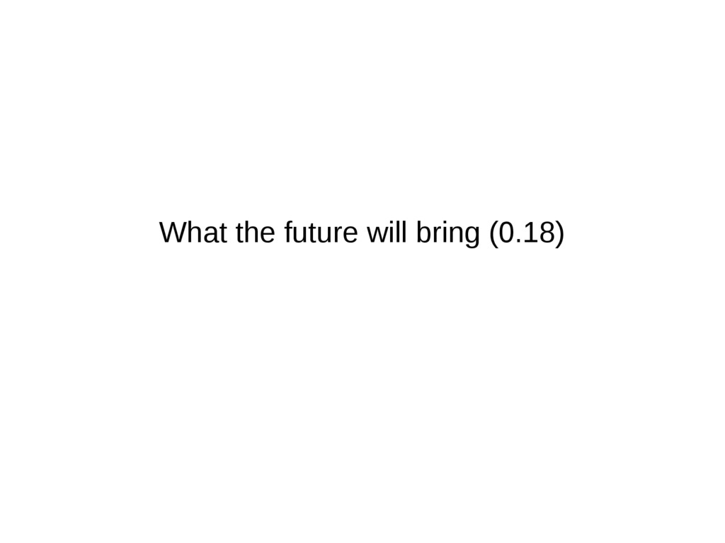 What the future will bring (0.18)